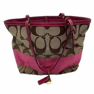 Coach Hot Pink Signature Tote Monogram Bag